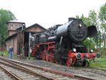 Foto und elektronische Grußkarte von der Dampflok 52 8038 am Lokschuppen in Rinteln