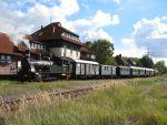 Foto und Grußkarte vom Dampfzug der Geesthachter Eisenbahn mit der Lok Karoline