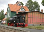 Foto und elektronische Grußkarte vom Bahnhof des Hessencourriers in Naumburg mit einer Speicherdampflok