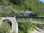 Foto und elektronische Grußkarte von einem Dampfzug der Bregenzerwaldbahn auf der Sporeneggbrücke bei Bezau