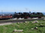 Foto und elektronische Grußkarte von den Mallet-Lokomotiven 99 5901 und 99 5902 auf dem Brocken