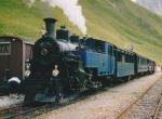 Foto und elektronische Grußkarte von einem Zug der Dampfbahn Furka-Bergstrecke auf der Steffenbachbrücke