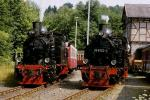 Foto und elektronische Grußkarte von der Doppelausfahrt mit Dampflokomotiven in Mägdesprung auf der Selketalbahn