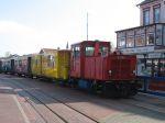 Foto und elektronische Grußkarte von der Schöma-Diesellok auf der Borkumer Kleinbahn