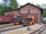 Foto und elektronische Grußkarte von Diesellokomotiven vor dem Lokschuppen des sächsischen Schmalspurmuseums Rittersgrün