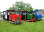 Foto und elektronische Grußkarte von drei Schöma-Loks der Moorbahn Uchter Moor