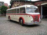 Foto und elektronische Grußkarte vom Omnibus H6B der Halleschen Straßenbahnfreunde