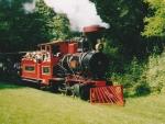 Foto und elektronische Grußkarte von der Dampflokomotive Greif auf der Schlossgartenbahn Karlsruhe