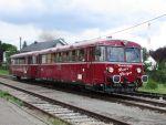 Foto und elektronische Grußkarte vom Schienenbus Roter Flitzer auf der Krebsbachtalbahn