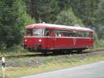 Foto und elektronische Grußkarte vom Schienenbus auf der Rodachtalbahn bei Nordhalben