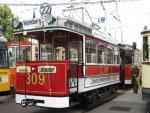 Foto und elektronische Grußkarte vom Straßenbahn-Triebwagen 309 Berolina in Dresden