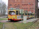 Foto und elektronische Grußkarte vom Straßenbahn-Triebwagen 203 der Karlsruher Verkehrsbetriebe Typ GT8D im Straßenbahnmuseum Hannover-Wehmingen