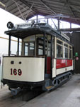 Foto und elektronische Grußkarte vom Triebwagen 169 im Straßenbahnmuseum in Chemnitz
