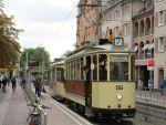 Foto und elektronische Grußkarte vom historischen Triebwagen 56 der Freunde der Freiburger Straßenbahn