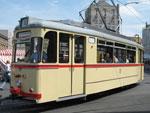 Foto und elektronische Grußkarte vom Triebwagen 523 der Halleschen Straßenbahnfreunde