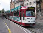 Foto und elektronische Grußkarte von einem Gelenktriebwagen GT 8 der Freiburger Straßenbahn